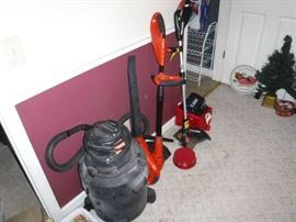 Wet/Dry Vac, blower/trimmer weed whacker and the proper batteries that I re-charged last weekend.