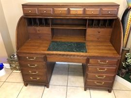 Antique Teak Roll Top Desk: Origin from the Philippines