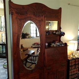 The other Side-by-side secretary, this one with oval mirror instead of glass door on the left side.