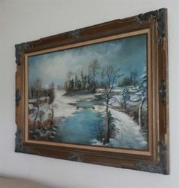 LARGE WINTER SCENE PAINTING
