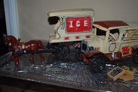 Cast iron horse drawn ice buggy