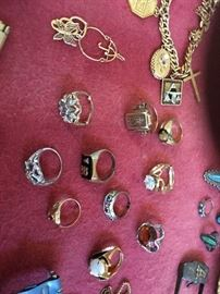Vintage jewelry including gold and silver