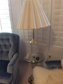 Cut glass and gold lamp table