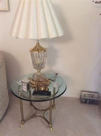Gold and glass round side table, cut glass table lamp
