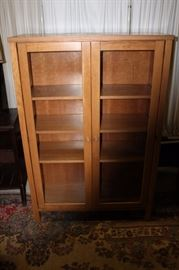 WOODEN GLASS FRONT PANTRY CABINET