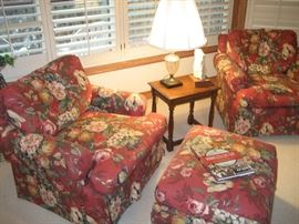 Oversized matching chair, ottoman, and swivel chair
