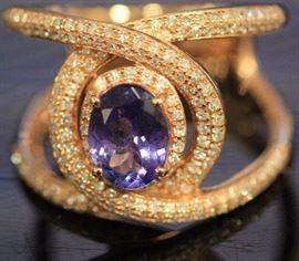 9052 - LADY'S TANZANITE & DIAMOND 14KT ROSE GOLD RING