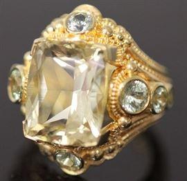 9060 - KENT RAIBLE GOLDEN CHRYSOBERYL SAPPHIRE 18KT RING