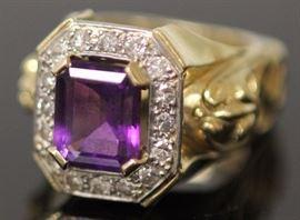 9075 - AMETHYST & DIAMOND PLATINUM & 18KT GOLD RING