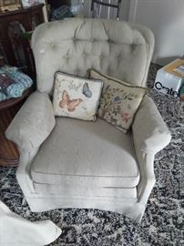 One of a pair of custom upholstered chairs