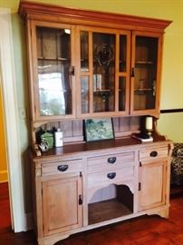 Antique Pine Cupboard with Stained Glass
