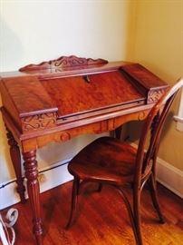 Antique Burled Walnut Desk
