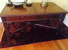 Fine Mahogany Coffee Table and Handmade Rug