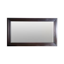 Wood Frame Wall Mirror: A large rectangular wall mirror. The mirror features a molded wooden frame with a dark finish and beveled mirror glass.