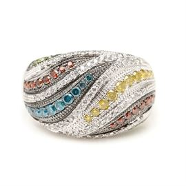 14K White Gold 1.07 CTW Multi-Color Diamond Ring: A 14K white gold domed shape ring set with flowing lines of irradiated colored diamonds trimmed with white diamonds and milgrain detail.