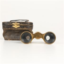 "Antique Parisian Lemaire Fabt Mother of Pearl Opera Binoculars: A pair of antique Parisian Lemaire Fabt mother of pearl and brass opera binoculars and leather case. The viewing caps are marked ""Lemaire FI Paris"" . The Lemaire company began in 1846 and continued manufacturing until 1950s in Paris."