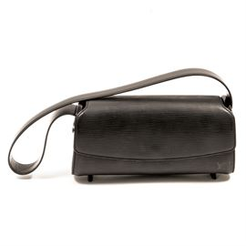 Louis Vuitton Shoulder Bag: A Louis Vuitton shoulder bag. This small shoulder bag is a solid black and made of leather. There is one non-adjustable leather strap. The interior is accessed through a flap and snap. The interior is also solid black and features one small compartment for accessories.