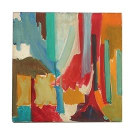 Oil Painting on Canvas of Abstract Composition: An oil painting on canvas of an abstracted composition. The work depicts an abstracted scene using contrasting warm and cool colors like blue, orange, red, and teal. To the verso, a wire is included for hanging. The painting is presented without a frame.
