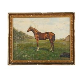 "T. F. Emmons Oil Painting of a Thoroughbred ""Hanover"": An oil painting on canvas of a thoroughbred titled Hanover by listed artist T. F. Emmons, created in 1902. This painting depicts a champion horse posing against a grassy landscape. It is signed and dated to its lower left, and is presented in a gold-toned wooden and gesso frame with foliate moulding without glass."