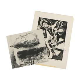 Pair of Eric L. Dates Abstract Prints on Paper: A pair of abstract print on paper by artist Eric L. Dates, created 1986-1987. Featured is a lithograph of a seascape (edition 9 out of 10), and a black and white abstract monoprint (edition 1/1). Each print is signed and dated in graphite to the lower margin. These prints are presented loose without frame or mat.