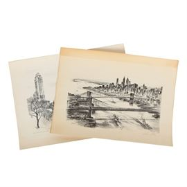 Pair of Signed Alec Stern Halftone Prints on Paper: A pair of signed halftone prints on paper by Alec Stern (American; 1904 – 1994). The first print depicts a spanning cityscape and is titled Graceful Spans to the bottom left. To the bottom right, the work is signed in plate and in graphite. The second print depicts a city view titled Winter Skyline in Central Park to the bottom left. To the bottom right, the work is signed in graphite. Each print is presented unmounted and without frames.