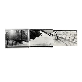 Collection of Donald Werner Black and White Analog Photographs of Winter Scenes: A collection of three black and white analog photographs on paper by listed American artist Donald Lewis Werner (1929-2010). Included is a photograph featuring a landscape with large rock formations and a snow-covered ground. truncated view of a snow-covered ground, populated with defoliated trees and fallen branches. This work is signed in ink to the lower left next to additional handwriting that reads N.Y.C.. Also included is a photograph featuring a slightly elevated view of a snow-covered ground with defoliated trees scattered throughout the landscape. The third photograph features a snow-covered park populated with defoliated trees; a bridge crosses over a path where a single jogger runs. None of the works are matted and all remain unframed.
