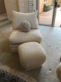 Armless chair with foot stool