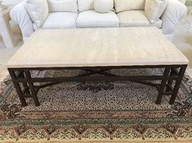 Travertine coffee table with metal base