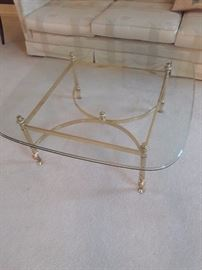 glass and brass table