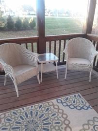 Two Outdoor chairs with square table