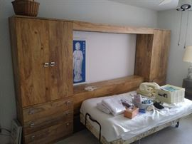 Adjustable Twin Size Bed, Large Headboard Cabinet