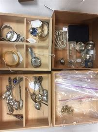 Silver spoons,  vintage jewelry, pocket watches...