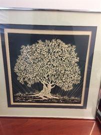 "Kaufman signed Intaglio -- ""Tree of Plenty."""