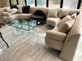 Directional sectional and lucite glass coffee table