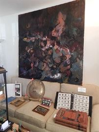 SEVERAL LARGE ABSTRACT OILS ON CANVAS BY JOAN MCLAREN