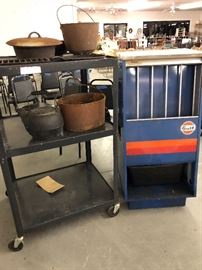 Vintage A Frame shape Double Sided Gas Station Gulf Oil Can Display in good Condition. Straight out of The estate Antique house used for storage .  A Collection of old cast iron pots & pans . One is Griswold