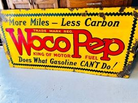 Antique Woco Pep Motor Fuel Gasoline  3 ft  x 5 ft  double sided enamel Gas Station  Sign
