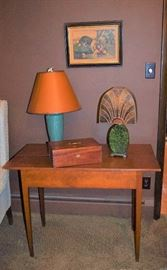 Rookwood lamp, vintage jewelry box, shaker table and Art Deco Meca Shade Lamp