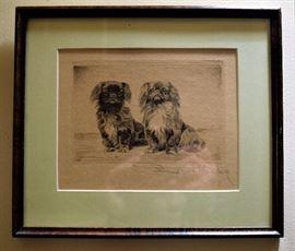 Original signed drawing; Pekingese