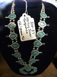 Squash Blossom Sterling & Turquoise Necklace