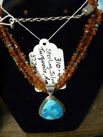 Sterling Silver, Turquoise & Amber