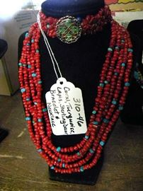 Sterling Silver, Turquoise, Coral, Lapis