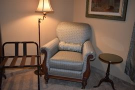 Sage colored chair, brass 3 way floor lamp and more