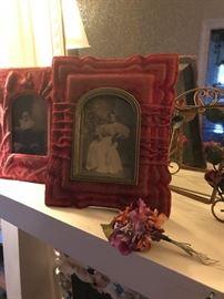 Victorian 1890 framed velvet pictures .
