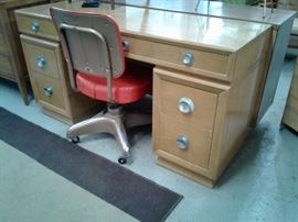 Solid wood Art Deco Desk / vanity with one of out many vintage office chairs.  Only $32.25 on Saturday!
