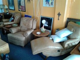 Left to right Hancock & Moore, Drexel Recliner, and vintage 70s vibrating massage chair(still Works Great) leather chairs along with various other furniture.
