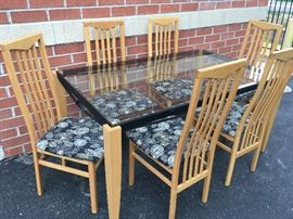Made in Italy glass table and 6 chairs, only $75 on Saturday!