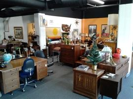 A partial view of the 1500 square foot showroom of Treasure that ALL must be GONE by end of the week!