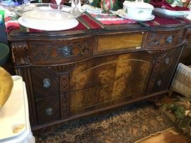 Art Deco Wooden Buffet or Credenza. Small issues. Beautiful piece.