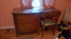 Desk with custom Glass top and matching chair - Asking $150
